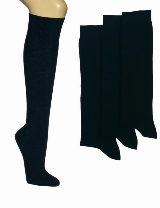 6 Paar schwarze Damen-Kniestrümpfeohne Gummidruck