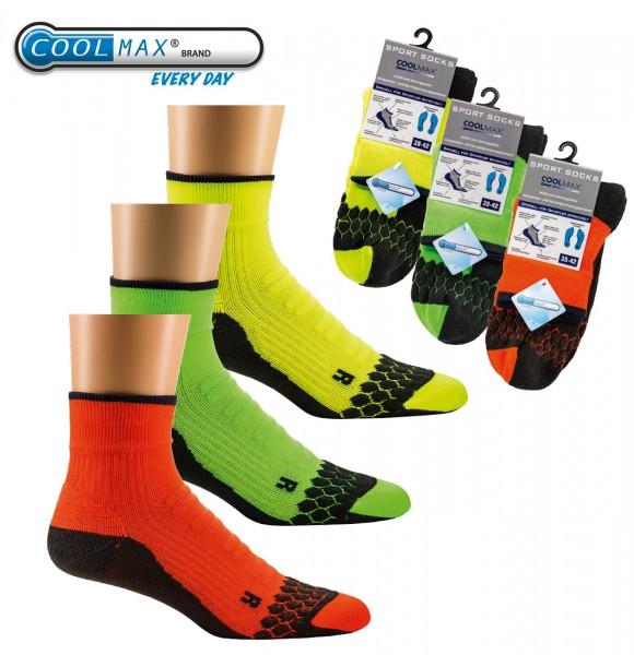 2 Paar TippTexx24 Coolmax-Neon-Sport-Sneaker mit Spezialpolsterung