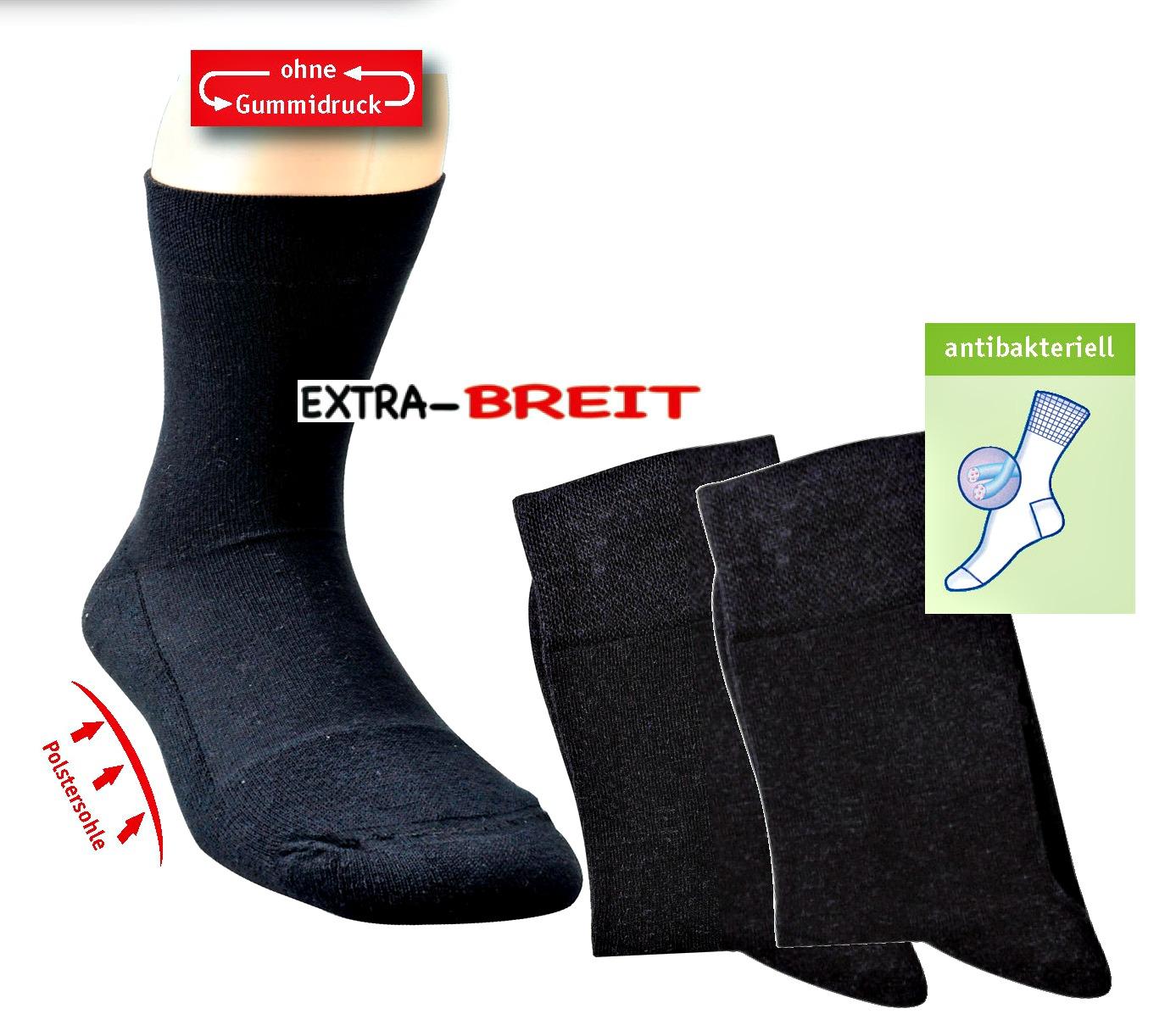 2 Paar TippTexx24 Gesundheits-Socken EXTRA-BREIT (EXTRA-WEIT)